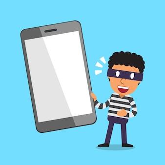 Voleur de bande dessinée et smartphone