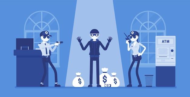 Voleur de banque attrapé par la police
