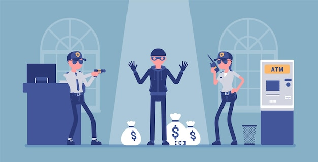 Voleur de banque capturé par l'illustration de la police