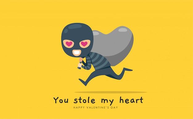 Un voleur avec un butin en forme de coeur
