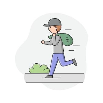Un voleur court dans la rue avec un sac d'argent