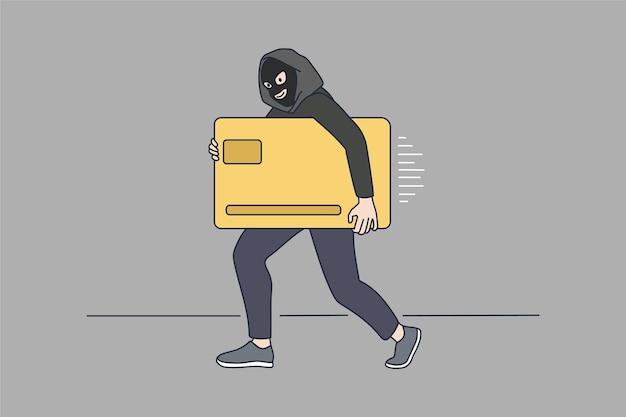 Le voleur dans le masque vole la carte de crédit d'or