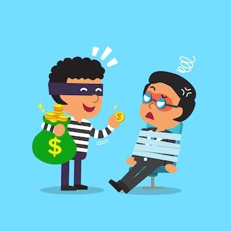 Voleur de dessin animé voler le sac d'argent de l'homme d'affaires