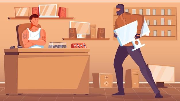 Voleur en masque noir cambriolant un prêteur sur gages à plat