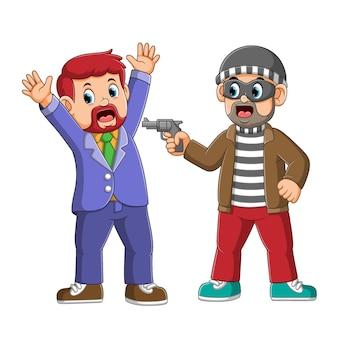 Voleur mettant le pistolet au gestionnaire pour voler de l'argent illustration