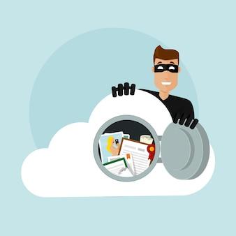 Un voleur pirate le stockage en nuage avec des documents et des photos importants. il ouvre la porte du coffre-fort et entre. vole des données sur un serveur cloud.