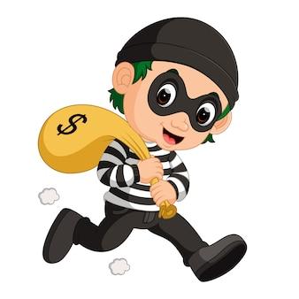 Voleur portant sac d'argent