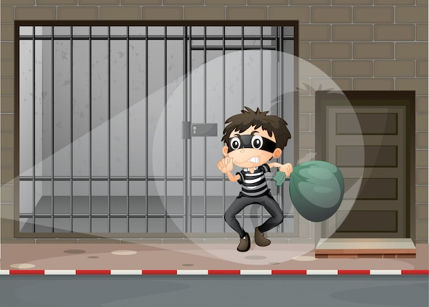 Voleur s'évadant de la prison