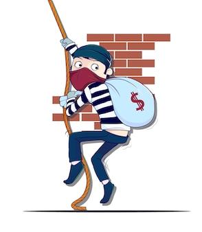 Un voleur se déplaçant avec une corde vecteur premium
