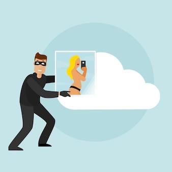 Un voleur souriant pirate le stockage en nuage et en retire des photos privées. il y a une fille à moitié nue sur la photo.
