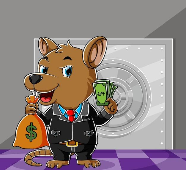 Voleur souris volant beaucoup d'argent dans le coffre-fort de la banque