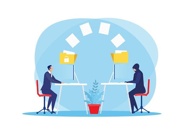 Voleur télécharger ou transférer des données personnelles sur le concept de hacker ordinateur portable illustration