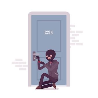 Le voleur verrouille la porte
