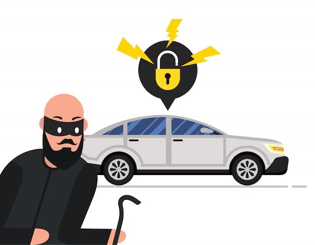 Un voleur veut voler une voiture
