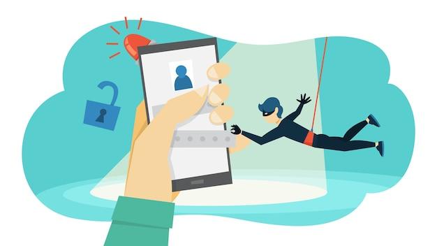 Un voleur vole des données personnelles avec un mot de passe. cybercriminalité