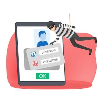 Un voleur vole des données personnelles avec un mot de passe