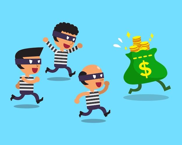Voleurs de bande dessinée et sac d'argent