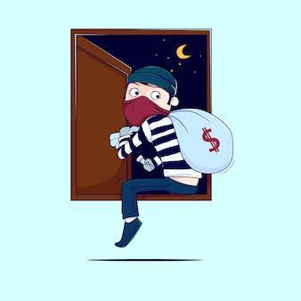 Les voleurs sautent par les fenêtres vecteur premium