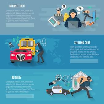 Voleurs et voleurs de bannières horizontales avec vol de voitures et vol d'internet