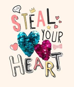 Volez votre slogan de coeur avec des icônes mignonnes et une illustration de paillettes colorées