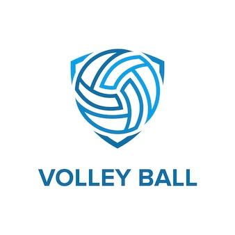 Volley-ball avec bouclier flèche contour simple conception de logo moderne vecteur premium
