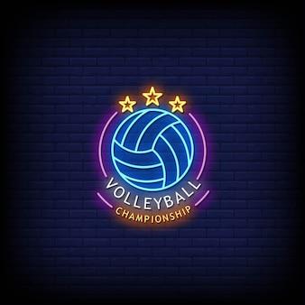 Volley ball championship logo enseignes néon