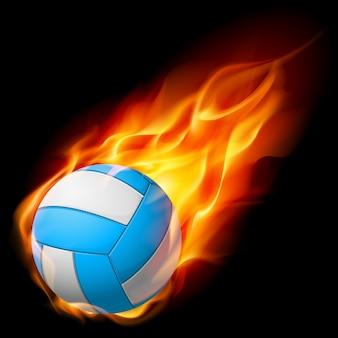 Volley-ball de feu réaliste