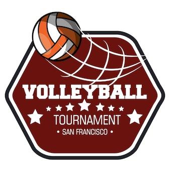 Volley ball sport emblème vector illustration design