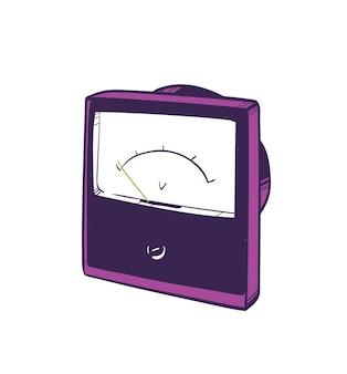 Voltmètre analogique dessiné à la main sur blanc. instrument utilisé pour mesurer la différence de potentiel électrique