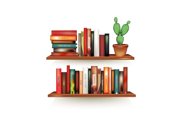 Des volumes de livres réalistes avec des épines vides et un support de pot en ligne au support accroché au mur.