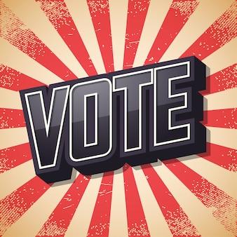 Vote, affiche rétro,