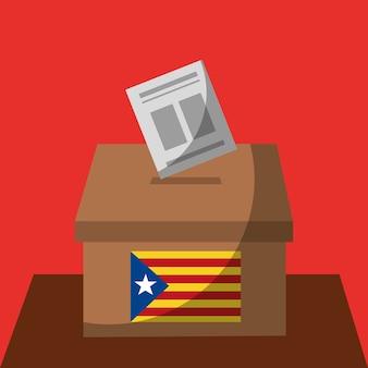 Vote boîte bulletin de vote catalogne drapeau séparatisme gouvernement