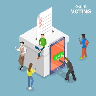 Vote de concept plat isométrique en ligne