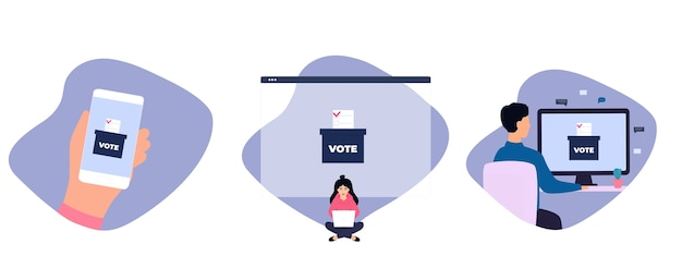Vote à distance femme vote via ordinateur portable