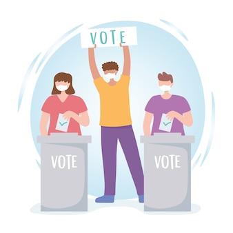 Vote et élection, les gens avec un masque de vote et des bulletins de vote