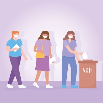 Vote et élection, groupe de femmes avec masque debout en ligne avec le papier de vote