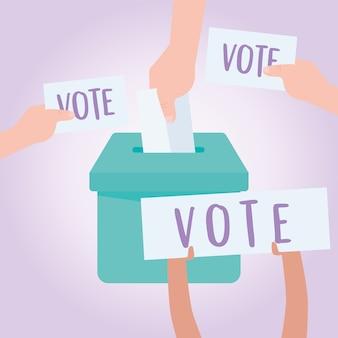 Vote et élection, mains avec bulletin de vote mis dans la boîte électorale