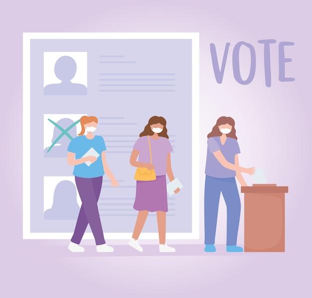 Vote et élection, des personnes masquées choisissant des candidats
