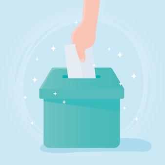 Vote et élection, vote papier à main dans la case