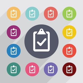 Vote, jeu d'icônes plat. boutons colorés ronds. vecteur