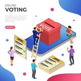 Vote en ligne avec smartphone, urne, électeur et bulletin de vote, bannière web