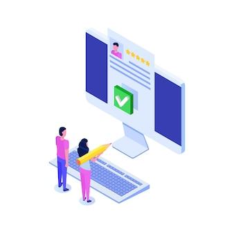 Vote en ligne, vote électronique, concept isométrique de système internet élection.