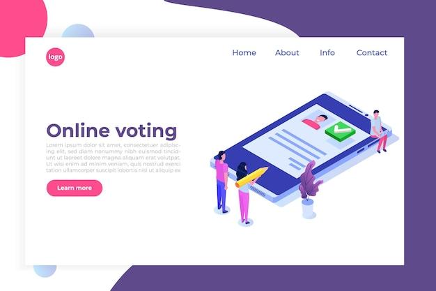 Vote en ligne, vote électronique, modèle isométrique du système internet des élections.