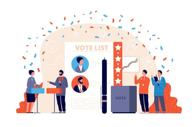 Vote par sondage. élection démocratique, enquête patriotique ou choix.