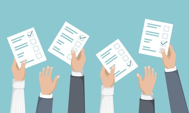 Voter ou faire du bénévolat les mains en l'air