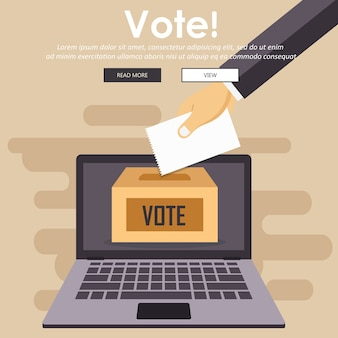 Votez maintenant concept. icône de mains colorées