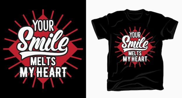 Votre sourire fond ma conception de typographie de coeur pour t-shirt