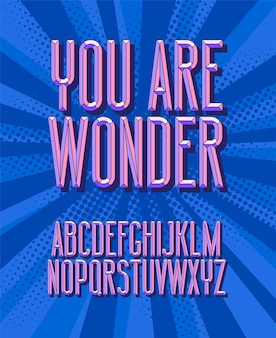 Vous êtes étonnant, police. lettres de l'alphabet vintage 3d. style rétro.