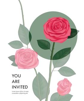 Vous êtes invité modèle de carte avec des roses transparentes et cercle vert