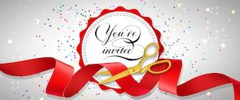 Vous êtes invités bannière festive avec des confettis, du texte sur un cercle blanc et des ciseaux d'or